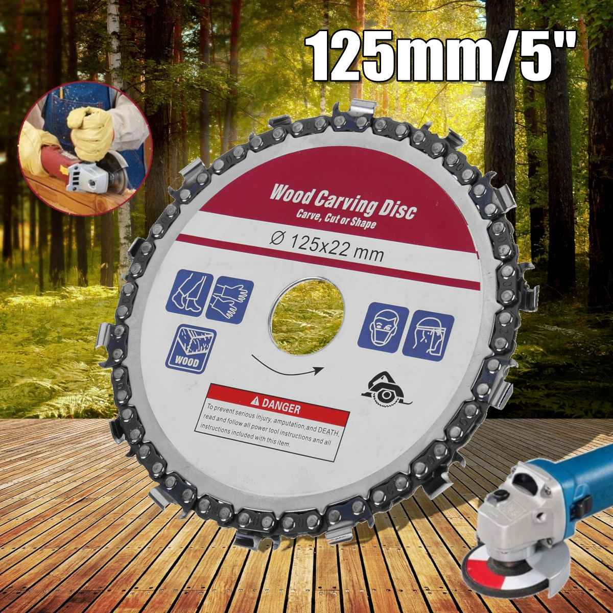 Doersupp Upgrade 5 Inch Grinder Disc And Chain 14 Tooth Fine Abrasive Cut Chain For 125mm Angle Grinder Power Tools Accessories