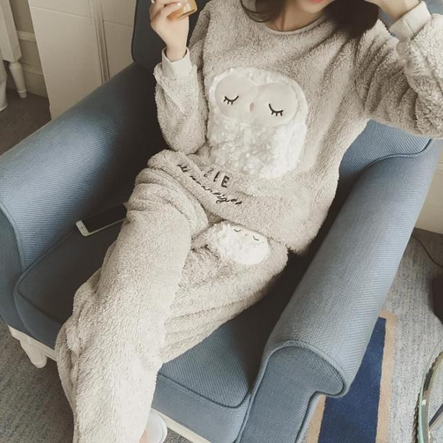 Mujeres Ladies Home Nightclothes Conjuntos de pijama de Dibujos Animados de Manga Larga Del O-cuello Sudaderas + Pantalones Fleece Cálido Suave Trajes de Sueño