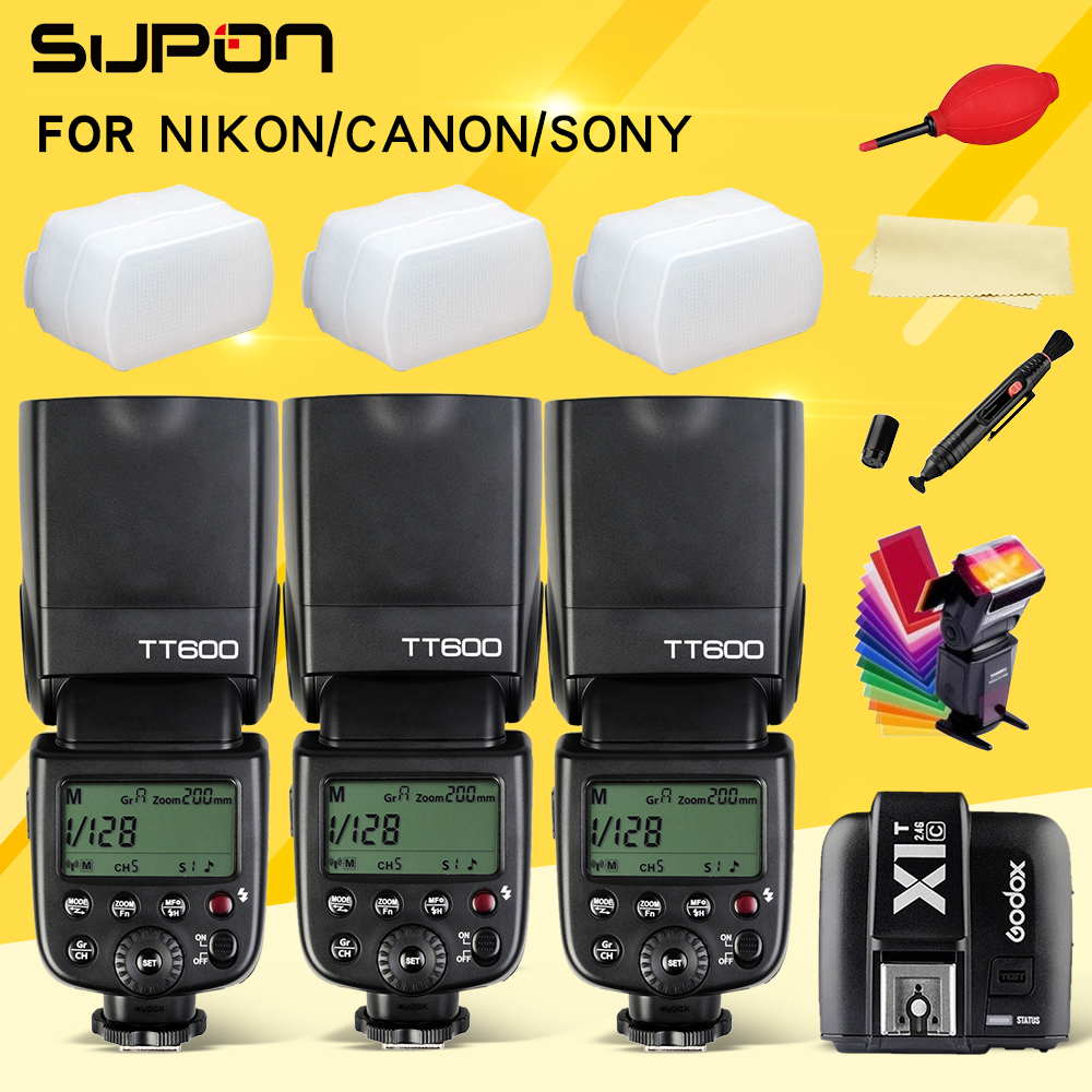 Godox Thinklite TT600 Camera flash Speedlite diffuser with X1T C N S Transmitter for for Canon