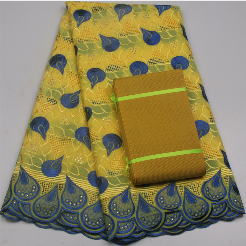 High Quality African Guipure Lace In Yellow Cotton Lace Fabric Market In Dubai Aso Oke Lace