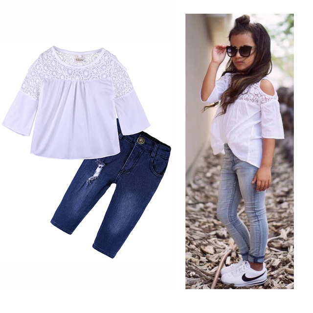 5cbae10db01 Toddler Baby Kids Girls Clothes Sets Summer Lace Tops T-Shirt Short Sleeve Denim  Jeans Pants Cute Outfits Clothing Set BB425