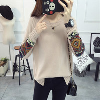 2018 new early autumn sweater women's head loose Korean version of the autumn long sleeved knit bottoming sweater