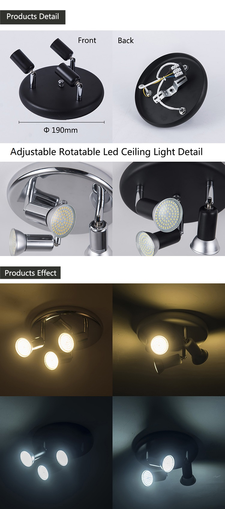 HTB1.0uJKIfpK1RjSZFOq6y6nFXab Adjustable led Ceiling light 3 heads rotatable showcase corridor ceiling lamp Modern living room bedroom kitchen spot lighting