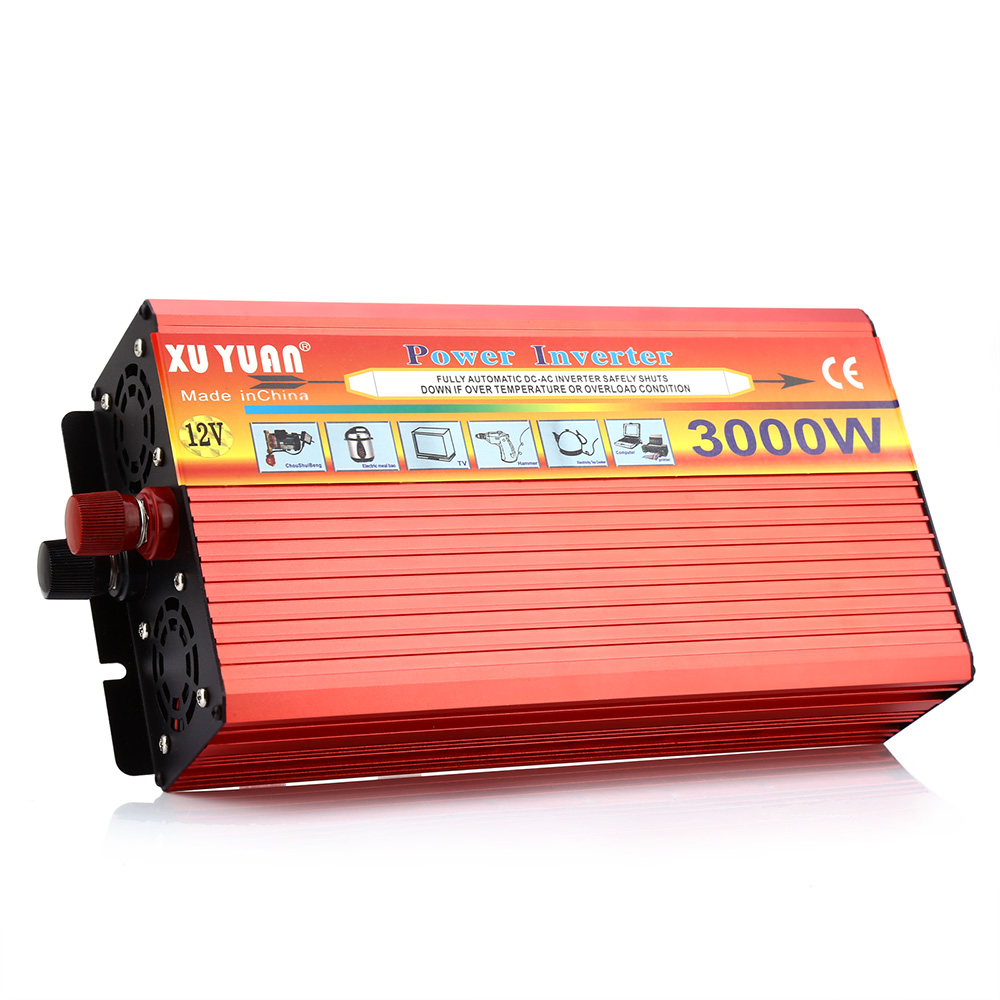 Car Inverter 3000W Solar Car Power Inverter DC 12V to AC 220V Voltage Converter Modified Sine Wave Vehicle Mounted Transformer