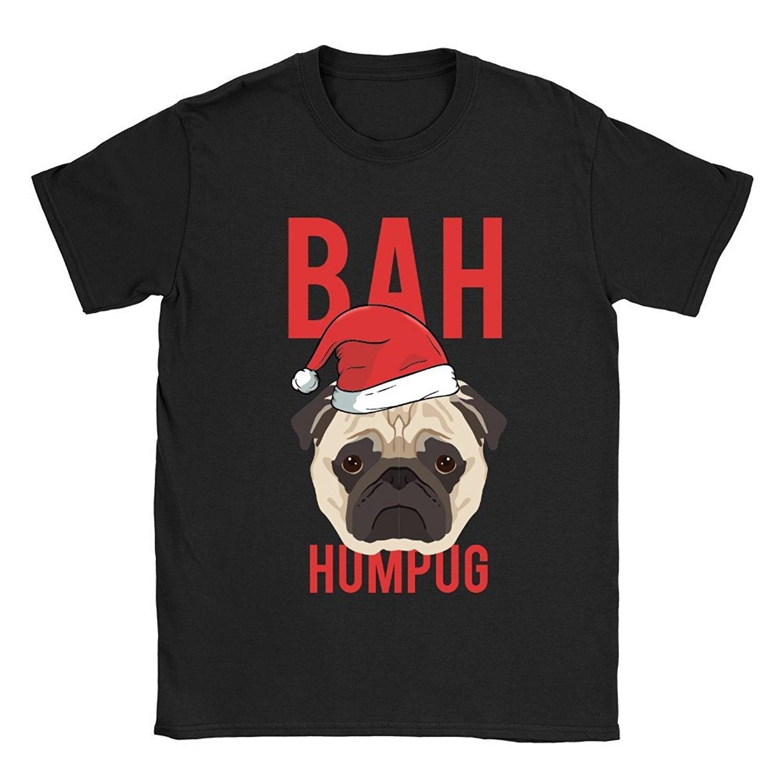 Бах Humpug Футболка мужская смешной анекдот Мопс Рождество Скрудж собака подарок