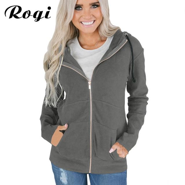 8cd82d9fed5 Rogi 2019 Hooded Sweatshirt Zipper Up Hoodies Women Casual Long Sleeve  Autumn Winter Coat Hoodie Tops Sudadera Mujer Plus Size