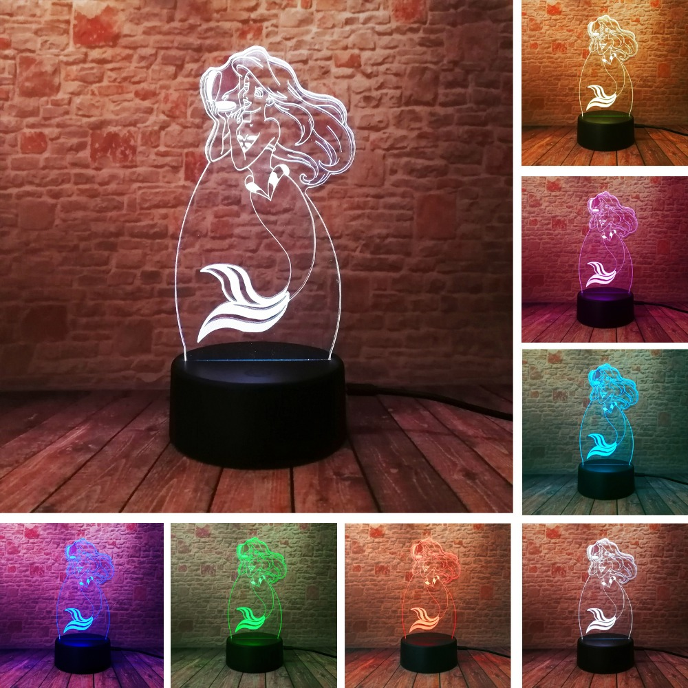 Fairy Tale Mermaid Princess 7 Color Changing Night Light LED Baby 3D Luminaria Lamp Home Decor Party Bedroom Xmas New Year GiftsFairy Tale Mermaid Princess 7 Color Changing Night Light LED Baby 3D Luminaria Lamp Home Decor Party Bedroom Xmas New Year Gifts