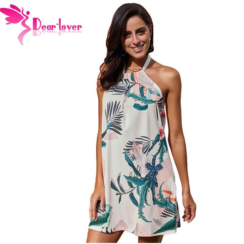 ebceb01adc71 Dear Lover New Summer Sky Blue Floral Print Women Sleeveless Mini Dresses  Beach Dress Chiffon Casual