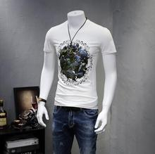 European Style Cotton T Shirt Bird Printing Short Sleeve Round Collar Men Bottom Summer Shirt