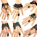 Wemen hot selling charm fashion Retro Vintage Lady Handmade Jewelry Gothic Lace Flower Finger Bracelet 00Q4