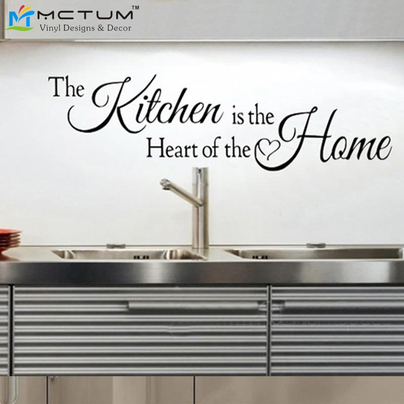 kitchen is the heart of the home quotes wall art stickers waterproof vinyl posters kitchen. Black Bedroom Furniture Sets. Home Design Ideas