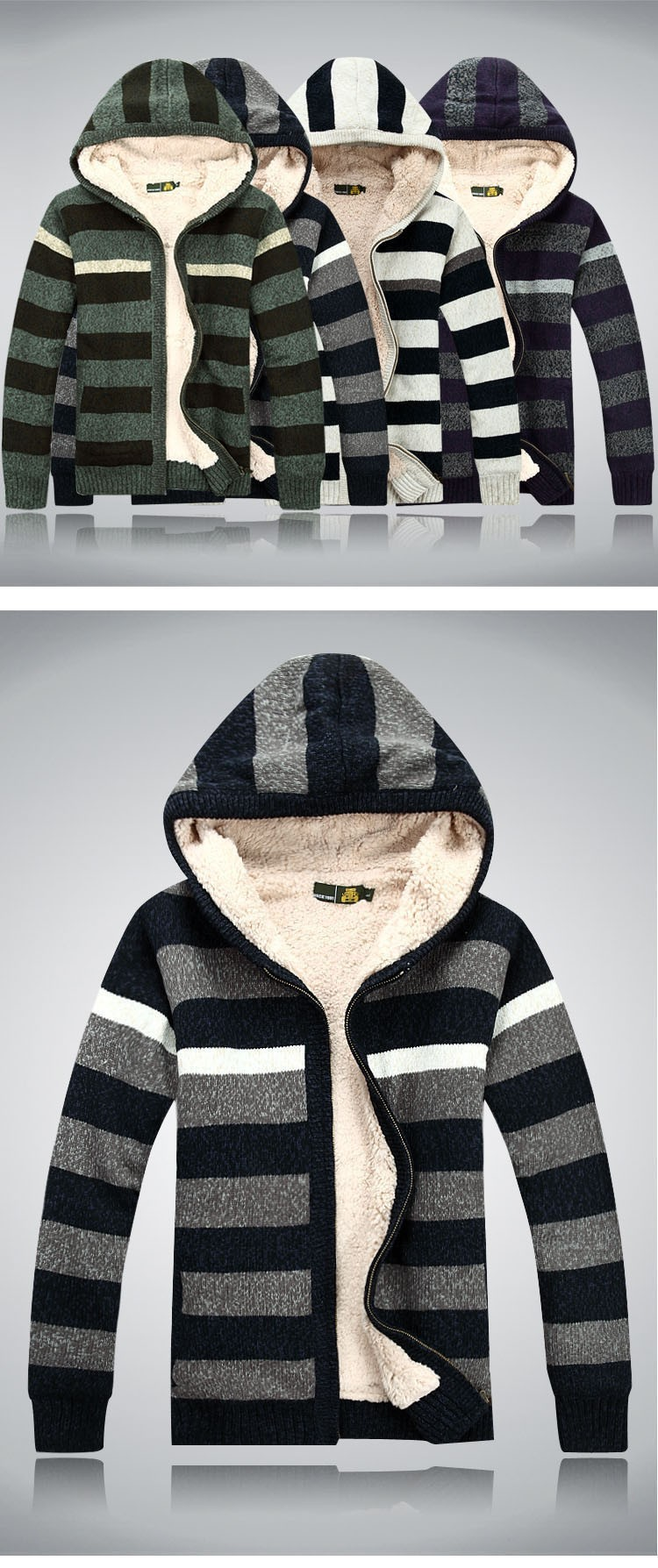 Aolamegs Men Hooded Sweater Fashion Striped Autumn Winter Wool Cardigan Casual Thick Warm Sweater Male Knitting Sweter Hombre (3)