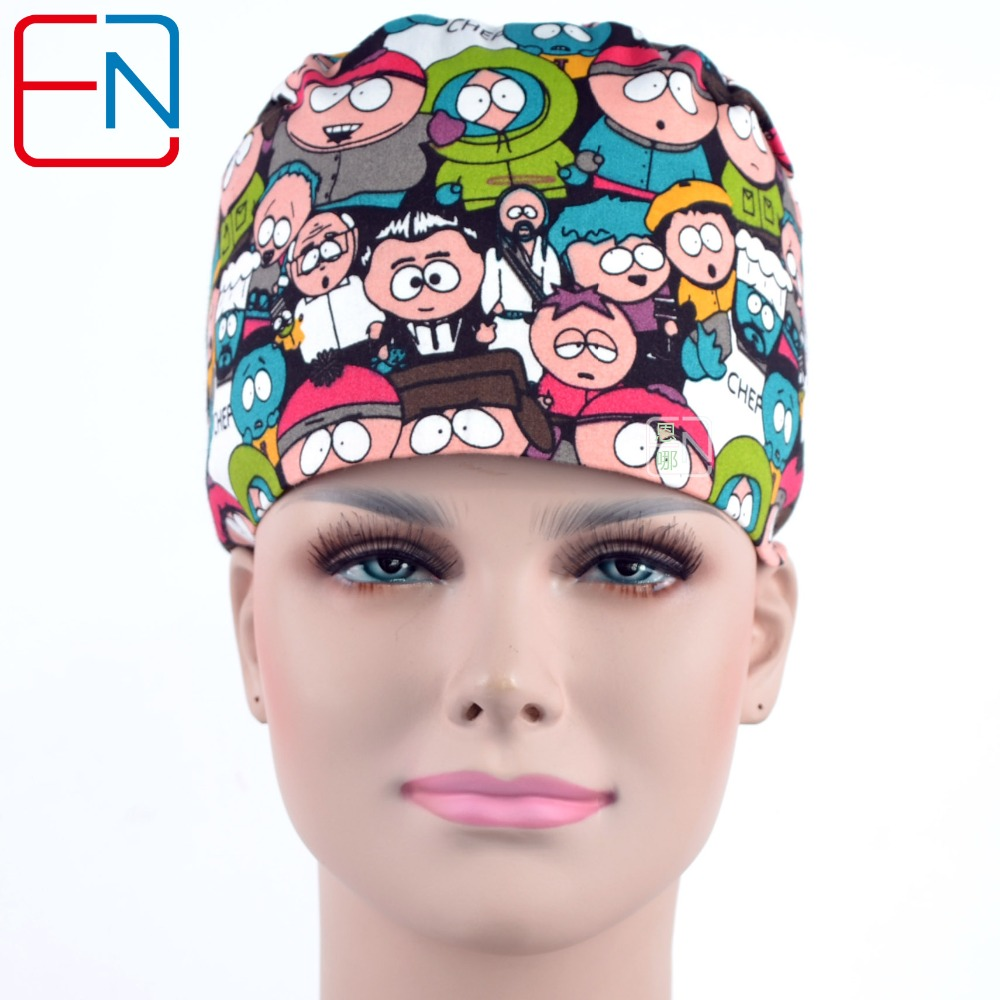 Novelty & Special Use Surgical Caps Printing Cat Adjustable Printing For Men And Women With Sweatband Cotton Pet Doctor Hats Dentist Medical Scrubs