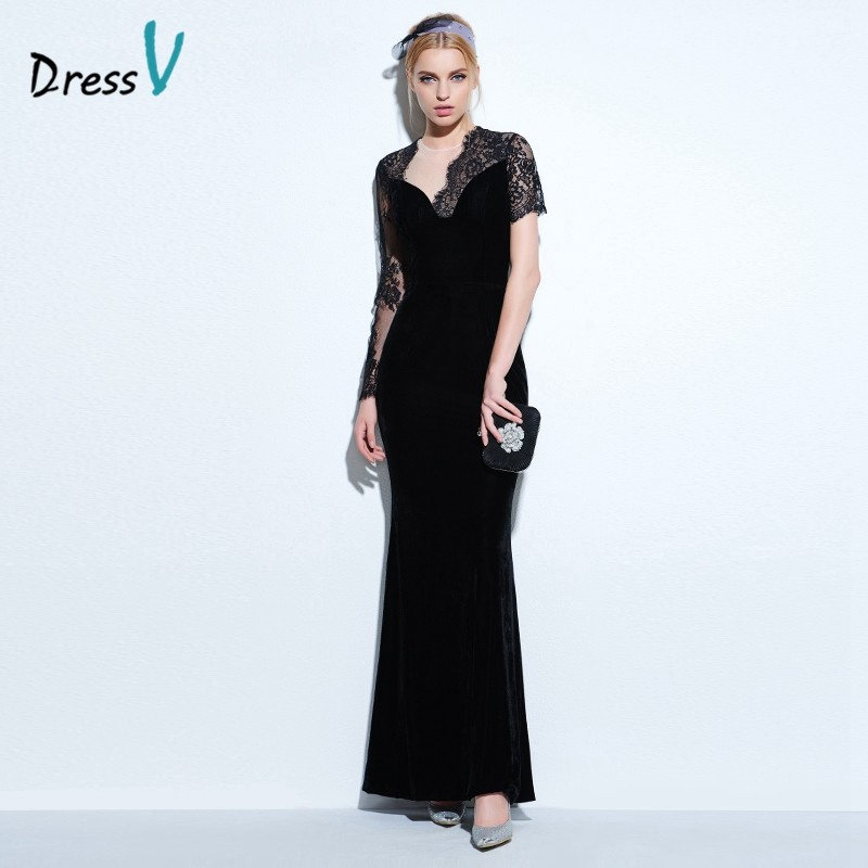 3f9e035fa Vestido negro vestido de noche alto cuello una línea elegante largo mangas  tobillo-longitud vestido de noche formal vestidosUSD 120.05-121.21 piece