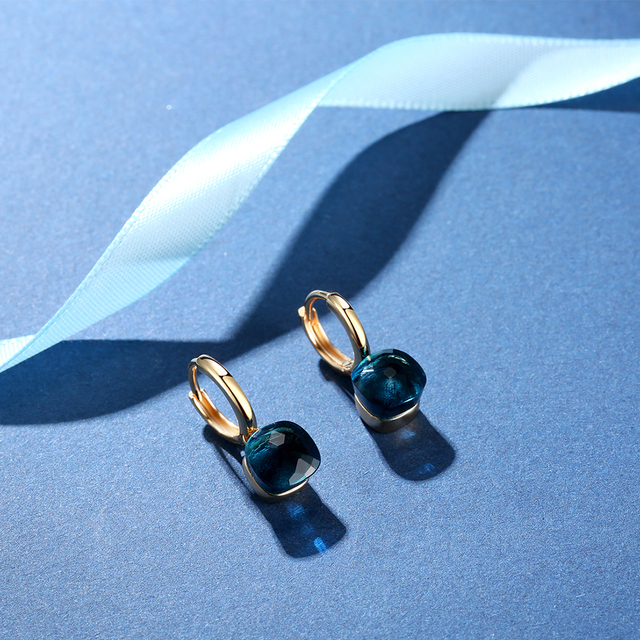 MetJakt Classic London Blue Topaz Earrings Solid Gold Color 925 Sterling Silver Elegant Earring for Lady Perfect Luxury Gift