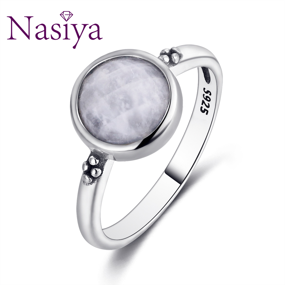 Nasiya Elegant Simple Moonstone Rings For Women 925 Silver Moonstone Jewelry Daily Life Wedding Anniversary Engagement Gifts