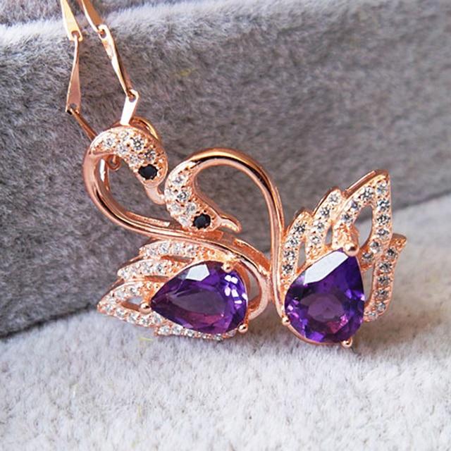 Forma del cisne de la manera natural de amatista colgante de collar de 1.5 ct natural amethyst gemstone esterlina del sólido 925 de plata colgante de cristal