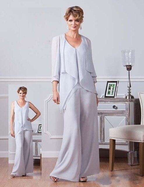 Ursula Gasa Pantalones Trajes Para Madre De La Novia de Escote V Barato  Vestidos de Fiesta d39da60834af