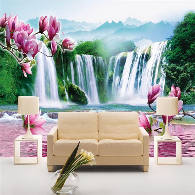 beibehang wallpaper wall murals wall stickers mood landscape landscape orchid reflection room living room TV wall
