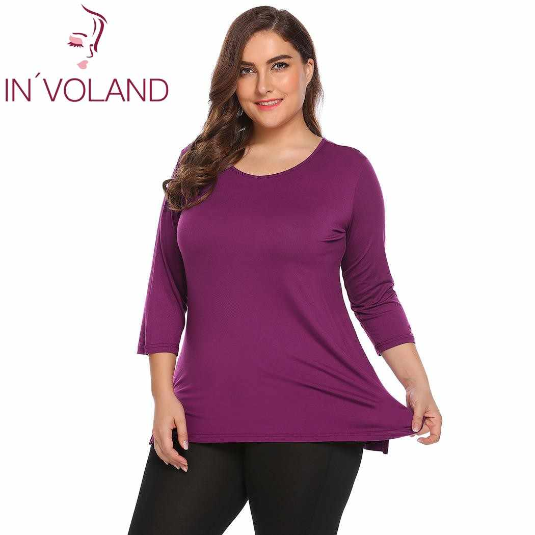 IN'VOLAND Plus Size Women T-Shirts Tops XL-5XL Spring Autumn V-Neck 3/4 Sleeve Solid Loose Long Large Tshirt Pullovers Big Size