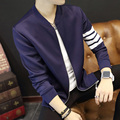 New 2017 Baseball Collar Jacket Men Sleeve With Striped Fashion Slim Fit Mens Bomber Jackets Active Casual Windbreaker Coat Male