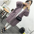 2017 hot autumn and winter new large size women fat mm thick in the long section of 200 pounds simple long cardigan sweater coat