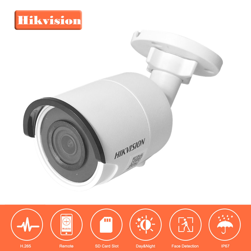 Hikvision H.265 Video Surveillance Camera Outdoor DS-2CD2055FWD-I 5MP Ultra-Low light Bullet IP Camera PoE Built-in SD Card Slot hikvision ultra low light ds 2cd3t26wd i5 2mp cctv h 265 ip bullet camera support onvif poe ir 50m waterproof outdoor