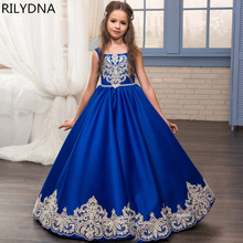 Dresses Flower-Girl Royal-Blue Wedding-Cinderella Princess Ball-Gown First-Communion-Dress