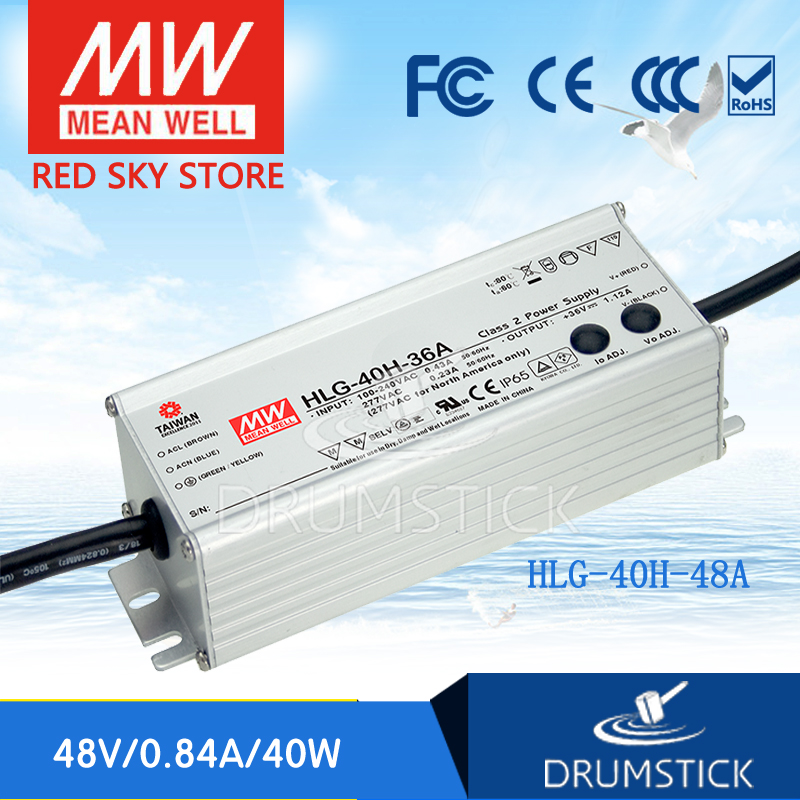 Selling Hot MEAN WELL HLG-40H-48A 48V 0.84A meanwell HLG-40H 48V 40.32W Single Output LED Driver Power Supply A type [powernex] mean well original hlg 40h 54a 54v 0 75a meanwell hlg 40h 54v 40 5w single output led driver power supply a type