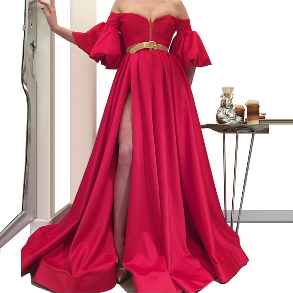 Newest Red A-Line Long Prom Dress With Sash High Split Off-Shoulder Runaway Ceremony Party Gowns Beach Evening Party Dress