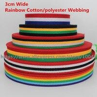 3cm Wide Rainbow Cotton Polyester Webbing Ribbon Tape Bag Straps Belt Waistband Webbing Upholstery Furniture 5