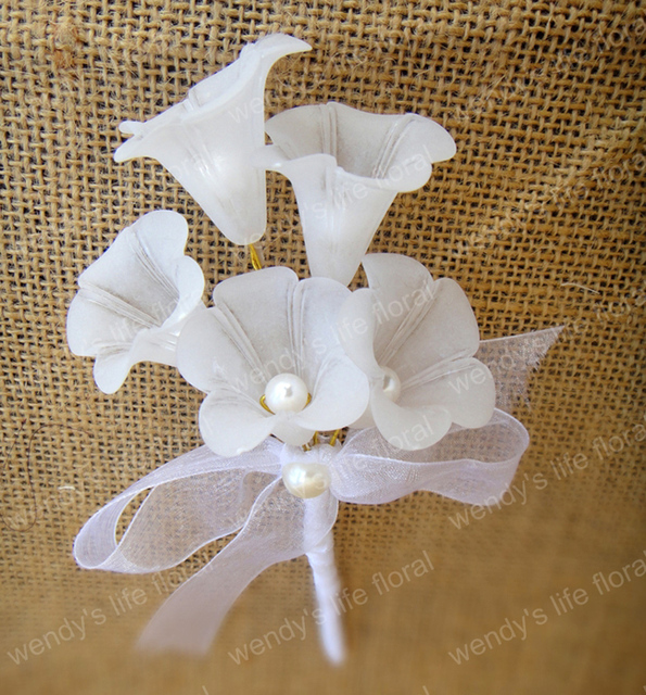 5pcslot Handmade Wedding Groom Boutonniere White Flower Corsage