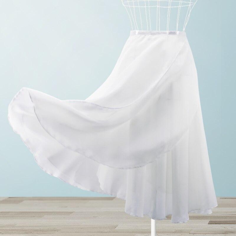 Adult Women Chiffon Dance Skirt Ballet Tutu Gymnastics Skate Ballet Skirt Ladies Girls Two Layers Double Color Dance Wrap Skirt