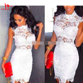 2016 White Lace Cocktail Dresses Mini Short Sheath Homecoming Party Dress High Neck Cap Sleeve Girls 8th Graduation Dress Gown