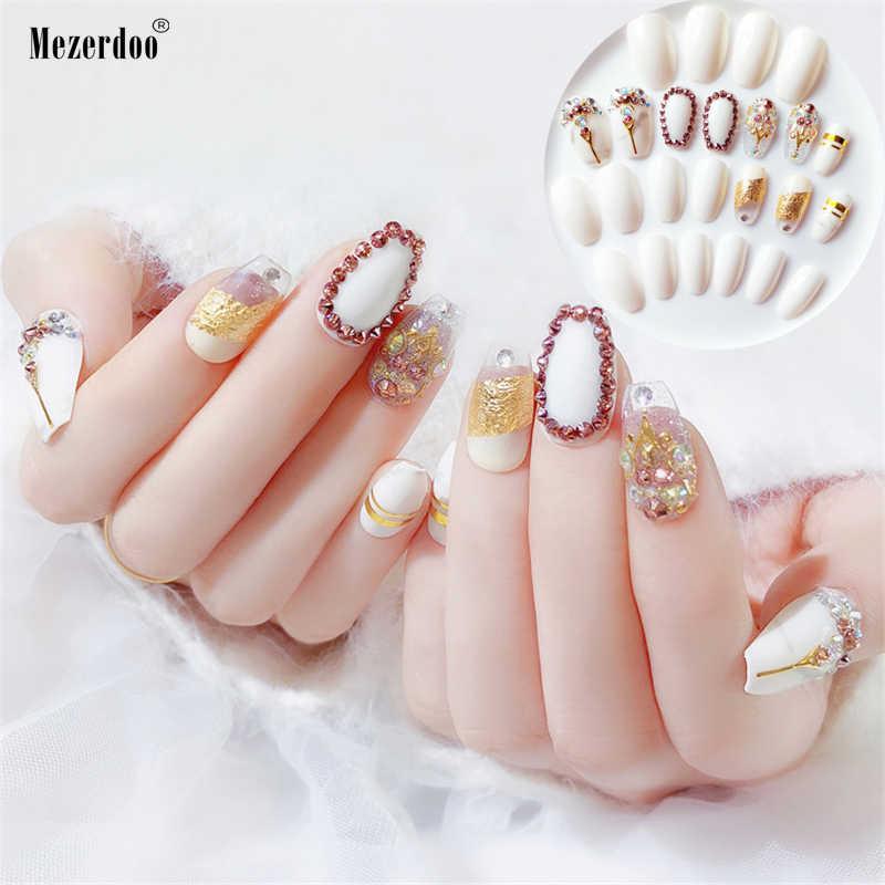 24Pc Coffin Fake Nails Marble Rhinestone Bride Nail Art Tips Full Cover  Gold Stripe Long Fingernails 1fca68737cd0