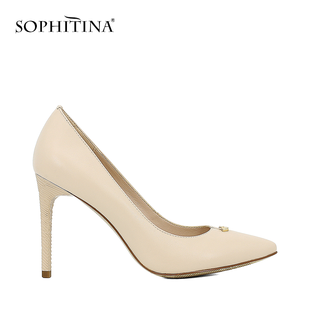 SOPHITINA 2018 Autumn Lady Pumps Sexy Thin High Heels Pointed Toe Shoes Genuine Leather Slip-on Wedding Party Women Shoes D53 наборы для творчества myriwell 3d ручка c oled дисплеем rp800a