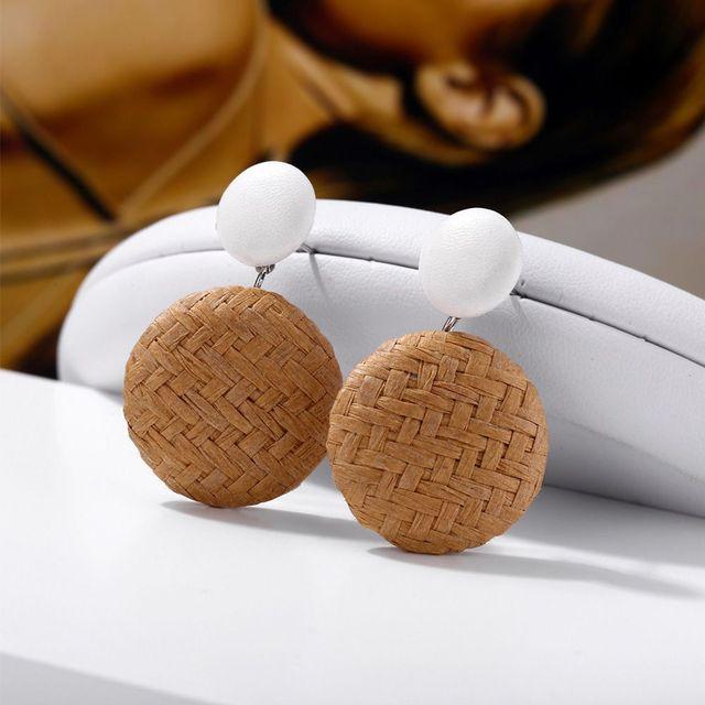 1 paire de boucles doreilles géométriques faites à la main en rotin tissage lustre pour femmes en bois paille ronde carré goutte Dangle boucle doreille cadeaux de fête