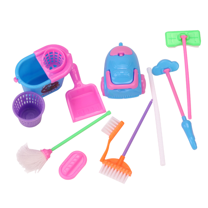 Dolls Miniature Dollhouse Cleaning Brush Baby Toys American Babie Accessories Furniture Mop, Broom, Dustbin Vacuum Cleaner Q15