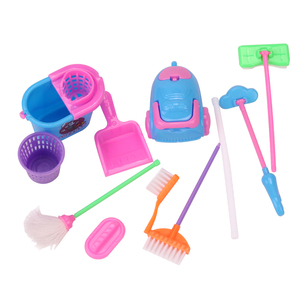 Dolls miniature dollhouse cleaning brush Baby toys American Babie accessories furniture Mop, broom, dustbin vacuum cleaner Q15(China)