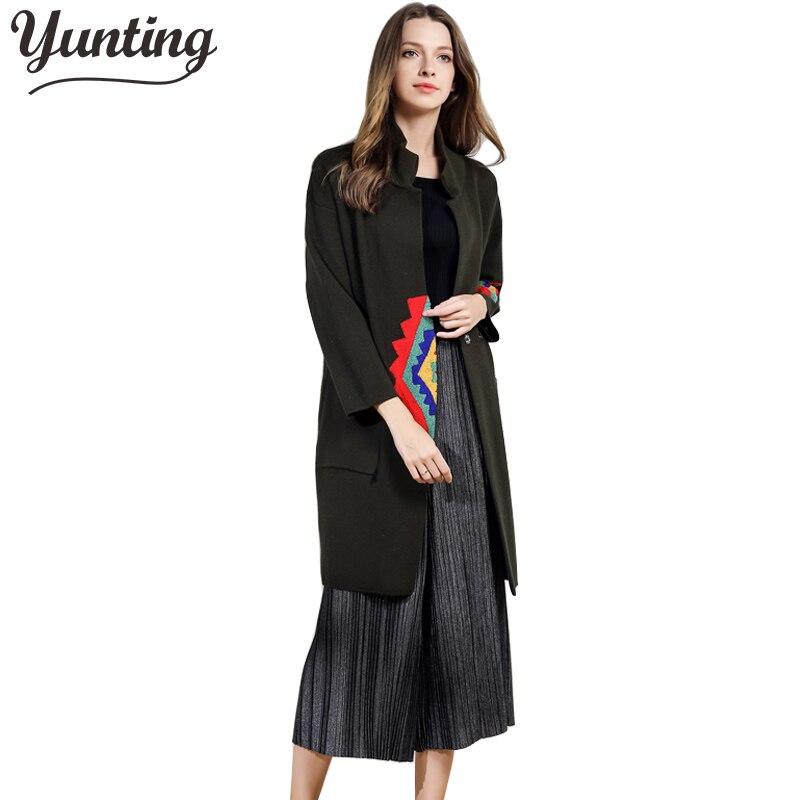 Women Cardigan New Autumn Female Cashmere Cardigan Long Sweater Turn down Collar Knit Slim coat