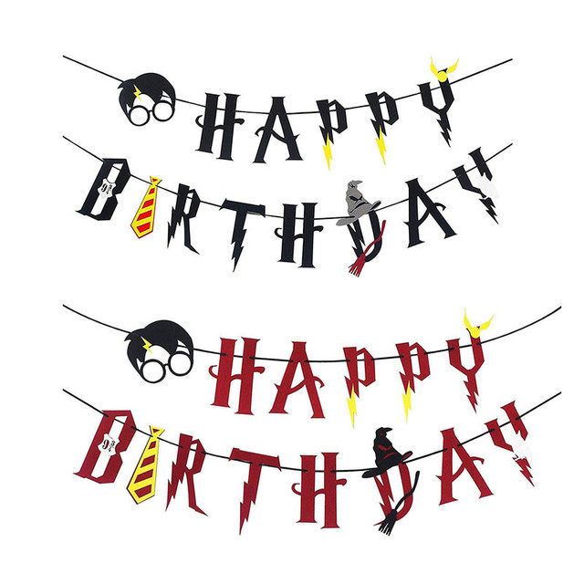 1 Set Harry Potter Happy Birthday Banner Lightning Felt