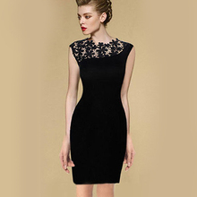 Hollow Out Lace Dresses Sleeveless Pop Women Formal Dress
