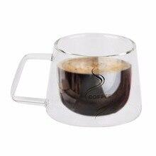 Doble Capa De Vidrio Taza de Café Botella de Agua de Cristal de Borosilicato Taza de Té Chino de Diseño de Moda a prueba de Calor Taza de Mango