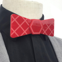 Glossy Rose Red Fashion Acrylic Bow Tie Groom Butterfly Tie Fashion Men Accessory