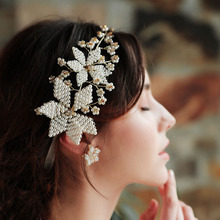 Floralbride Golden Wired Rhinestones Crystal Pearls Wedding Headband Bridal Hair Vine Accessories Bridesmaids Women Jewelry