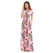 Floral Printed Long Dress Women Casual O-Neck Pockets Long Maxi Dress Plus Size 2017 Summer Round Neck Short Sleeve Vestidos
