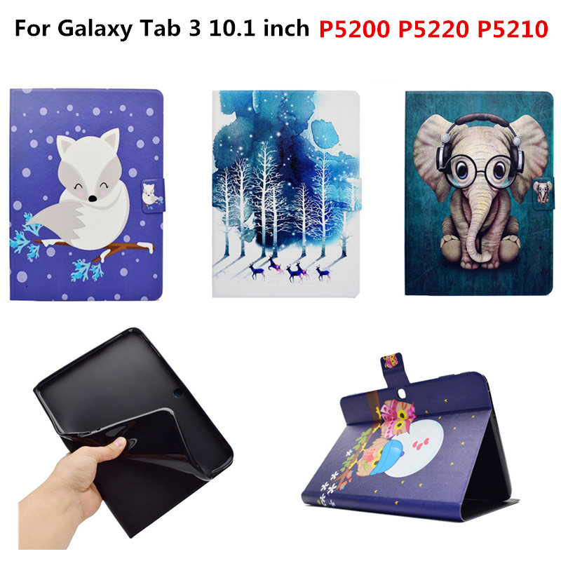 Cute Cartoon OWI Elephant PU leather Stand Case For Samsung Galaxy Tab 3 10.1 P5200 P5220 P5210 GT-P5200 Tablet Cover Coque pu leather case cover for samsung galaxy tab 3 10 1 p5200 p5210 p5220 tablet