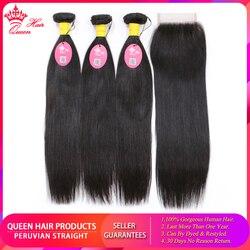 Produkty Queen Hair peruwiańskie proste włosy wiązki z zamknięciem 100% Remy ludzki włos podwójne pasma włosów splot 8