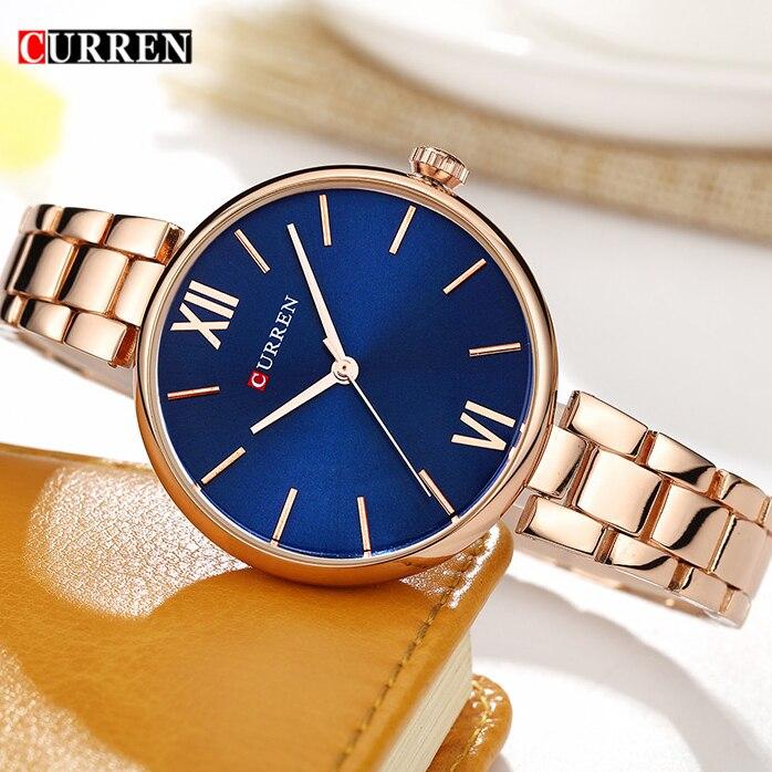 New Fashion Casual CURREN 9017 Brand Relogio Luxury Women's Casual Watches Waterproof Watch Women Fashion Dress Gold Watch цены
