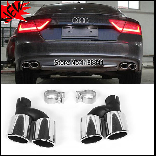 a7 s7 statinless steel auto car exhaust tips rear bumper exhaust system pipe dual muffler pipe trim for audi a7 s7